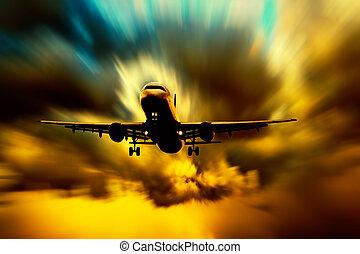 céu, avião, silueta, pôr do sol