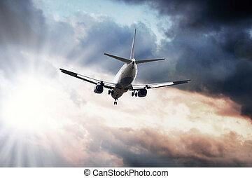 céu azul, avião