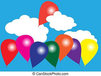 céu azul, balões