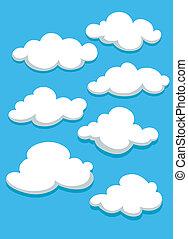 céu azul, branca, jogo, nuvens