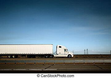 céu azul, caminhão, sob, branca, estrada