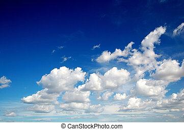 céu azul, com, algodão, semelhante, nuvens