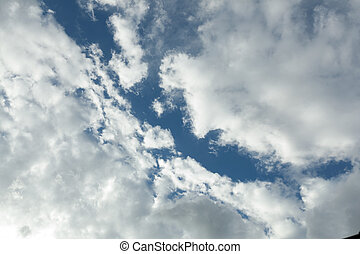céu azul, com, muitos, nuvem, naturel, fundo
