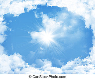 céu azul, com, nuvens, e, sol
