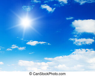 céu azul, com, nuvens, e, sun.