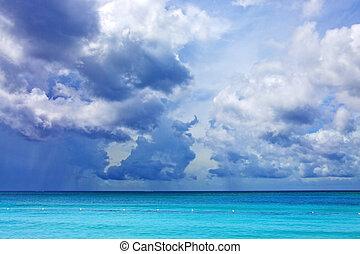 céu azul, com, nuvens, sobre, caraíbas, sea.