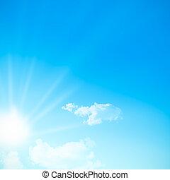 céu azul, durante, um, dia ensolarado, com, sunlight., sol, somes, nuvens, livre, espaço, para, text., quadrado, imagem