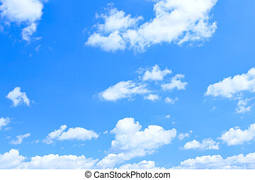 céu azul, e, lotes, pequeno, nuvens