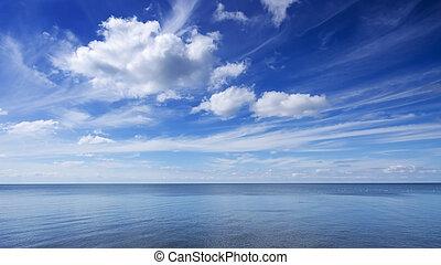 céu azul, e, mar