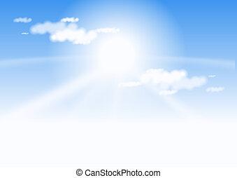 céu azul, e, sol