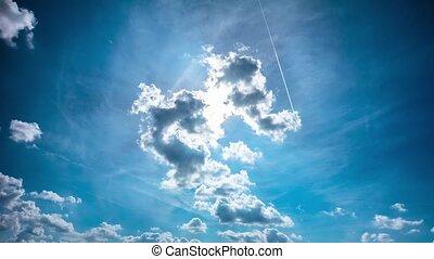 céu azul, e, sol, tempo-lapso