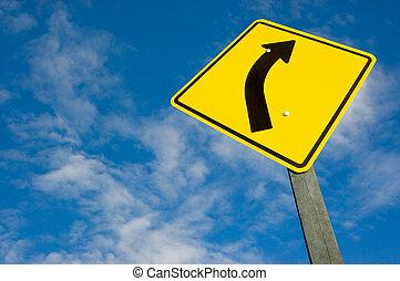 céu azul, estrada, contra, sinal