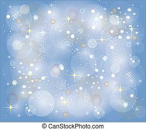céu azul, estrelas, fundo, natal
