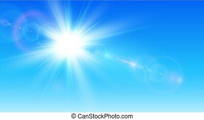 céu azul, fundo, ensolarado, sol