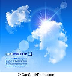 céu azul, fundo, vector., clouds.
