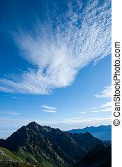 céu azul, impressionante, nuvens, branca