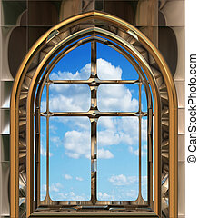 céu azul, janela, gótico, scifi, ou