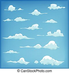céu azul, jogo, nuvens, caricatura