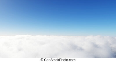 céu azul, nuvens, 3d, render