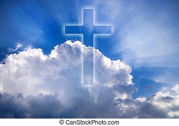 céu azul, nuvens, crucifixos, brilhar