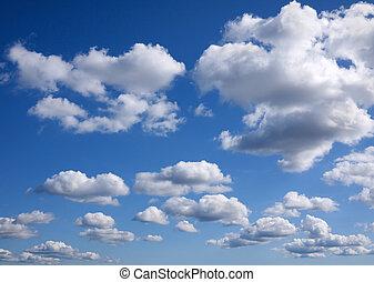 céu azul, nuvens, fundo, minúsculo