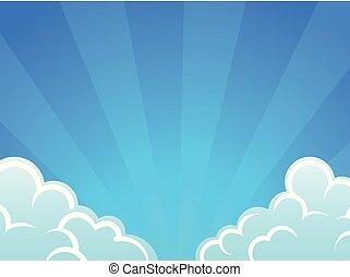 céu azul, nuvens, vetorial, fundo, branca