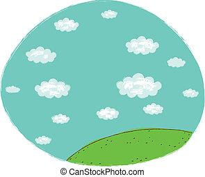 céu azul, paisagem verde