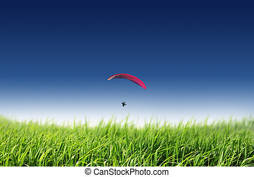 céu azul, parachuting