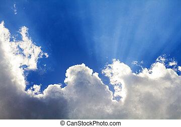 céu, azul, sol