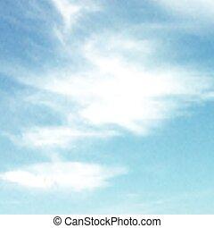céu azul, vetorial, clouds., branca