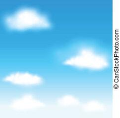 céu azul, vetorial, nuvens, fundo