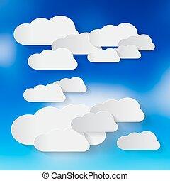 céu azul, vetorial, nuvens