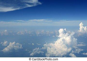 céu azul, vista, de, aeronave, avião