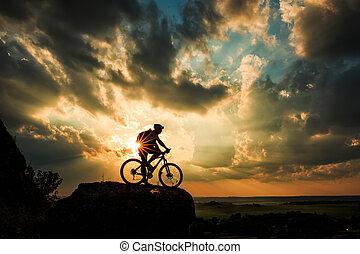 céu, biker, silueta, bicicleta, experiência.