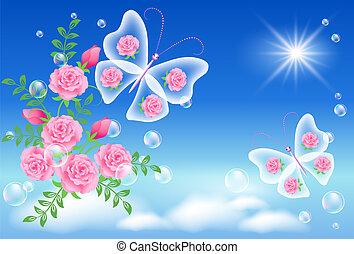 céu, borboleta, flores