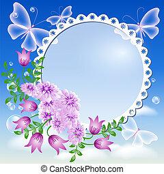 céu, borboletas, flores, quadro, foto