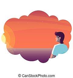 céu, cena, contemplar, pôr do sol, horizonte, homem