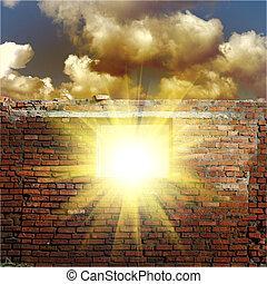 céu, com, luz solar, através, a, buraco, em, a, parede...