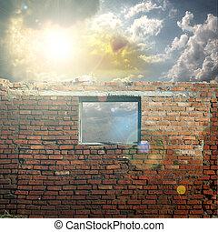 céu, com, luz solar, através, a, buraco