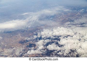 céu, com, nuvens, vista, de, a, avião