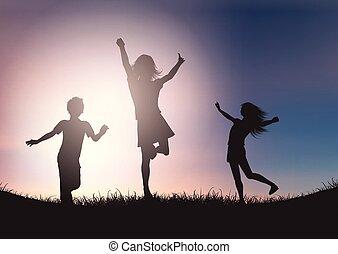 céu, contra, crianças, silhuetas, pôr do sol, tocando