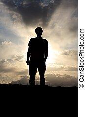 céu, costas, nublado, iluminado, dramático, antes de, homem