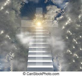céu, cristão, sol, escada, crucifixos, vigas, sunsnsine