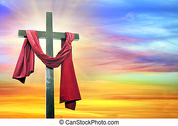 céu, crucifixos, fundo