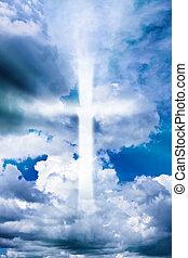 céu, crucifixos, nublado