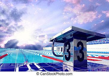 céu, desporto, abertos, piscina, natação