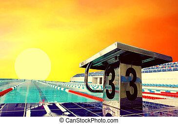 céu, desporto, abertos, waterpool