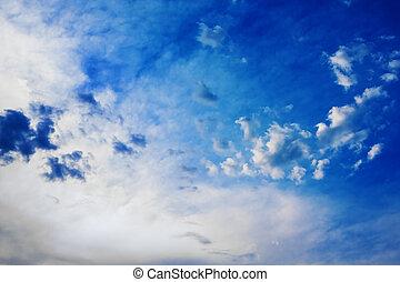 céu dramático, com, nuvens cumulus