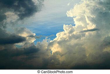céu, dramático, nuvens, fundo