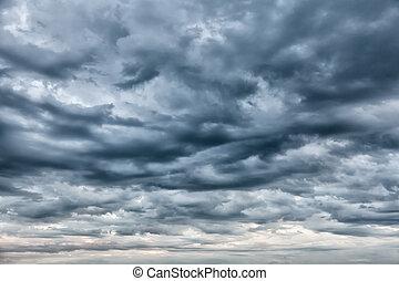 céu dramático, tempestade, antes de